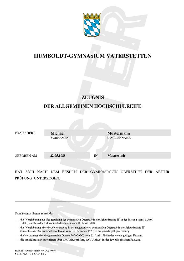 Abitur Kaufen Muster Seite 01