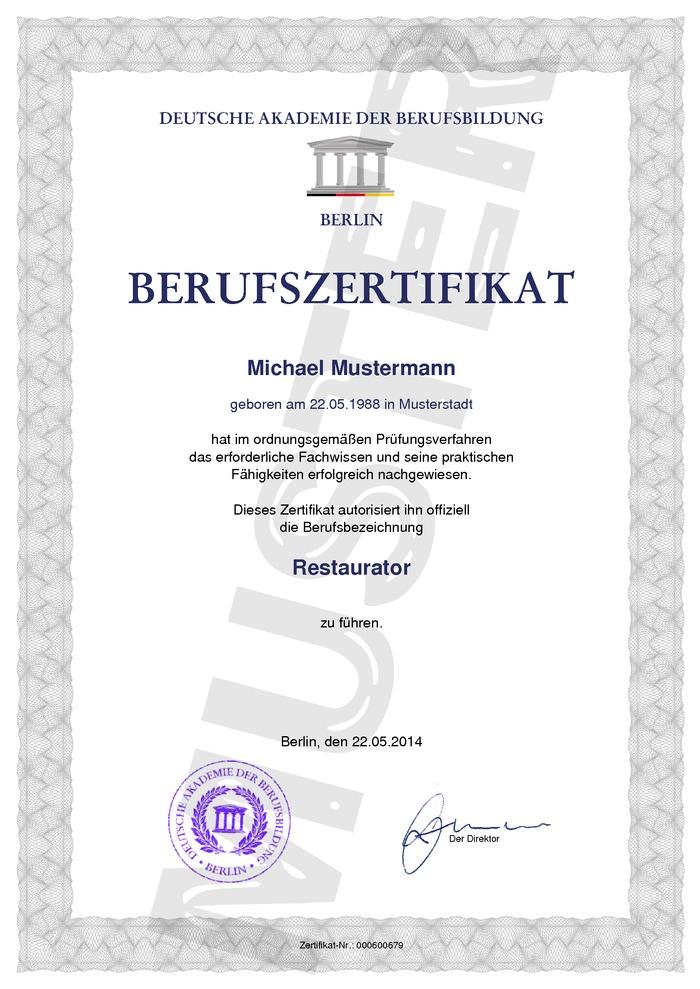 Berufszertifikat Kaufen Muster 01 Deutsch