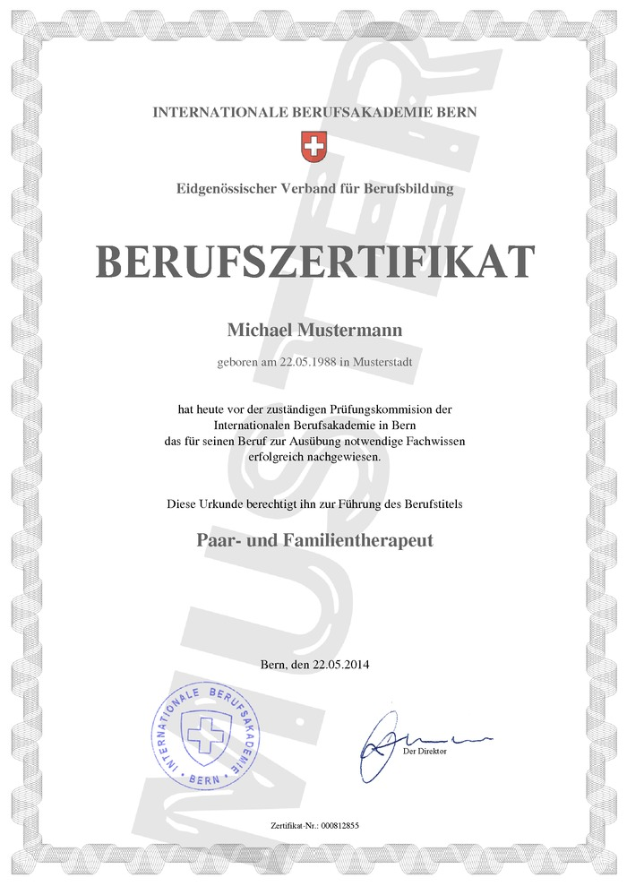 Berufszertifikat Kaufen Muster 01 Schweiz