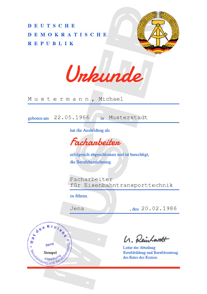 DDR Facharbeiterbrief Kaufen Muster 01