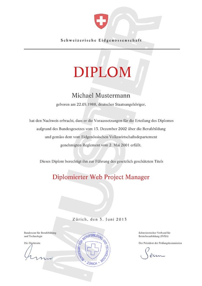 Diplom / Berufsdiplom Schweiz Kaufen Muster 01