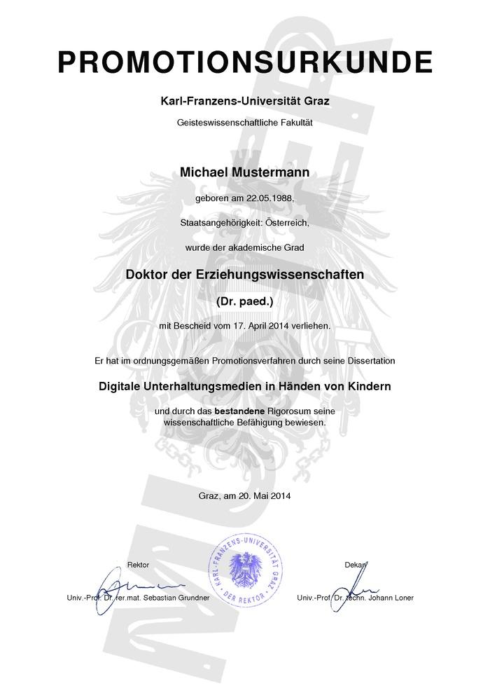 Doktortitel Kaufen Muster 01 Österreich
