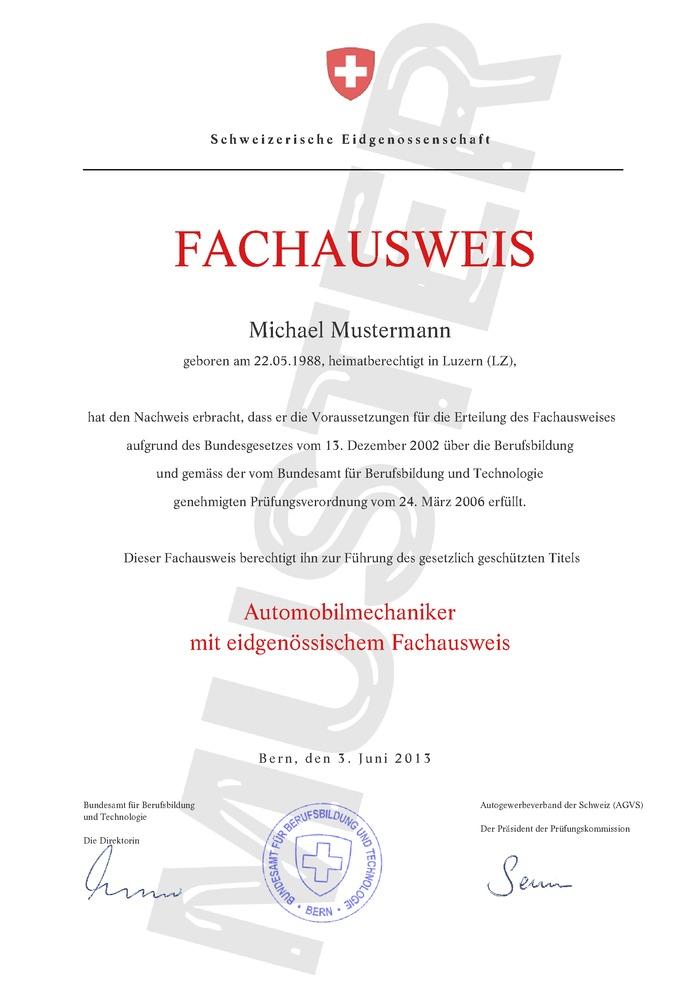 Fachausweis Schweiz kaufen