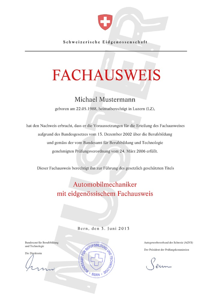 Fachausweis Schweiz Kaufen Muster 01