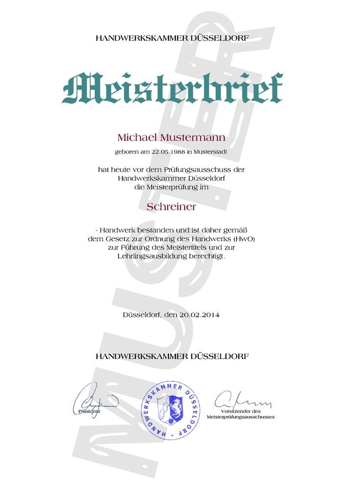 HWK Meisterbrief Kaufen Muster 01