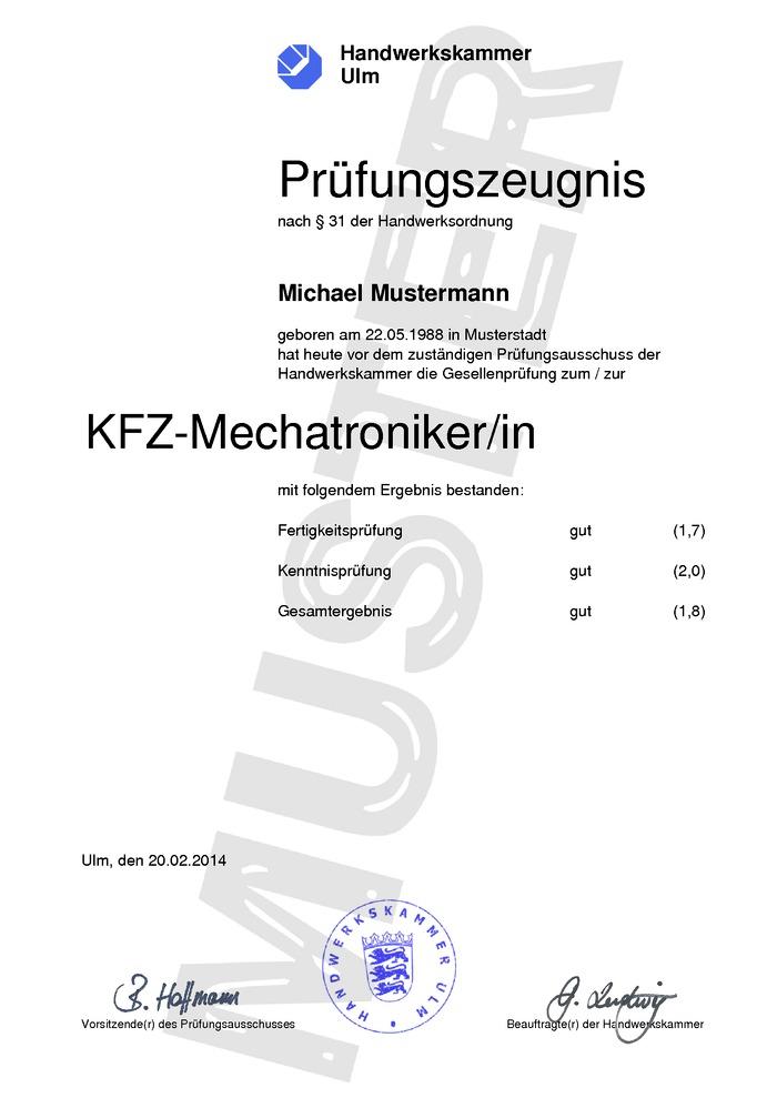 Handwerkskammer (HWK) Prüfungszeugnis Kaufen Muster 01