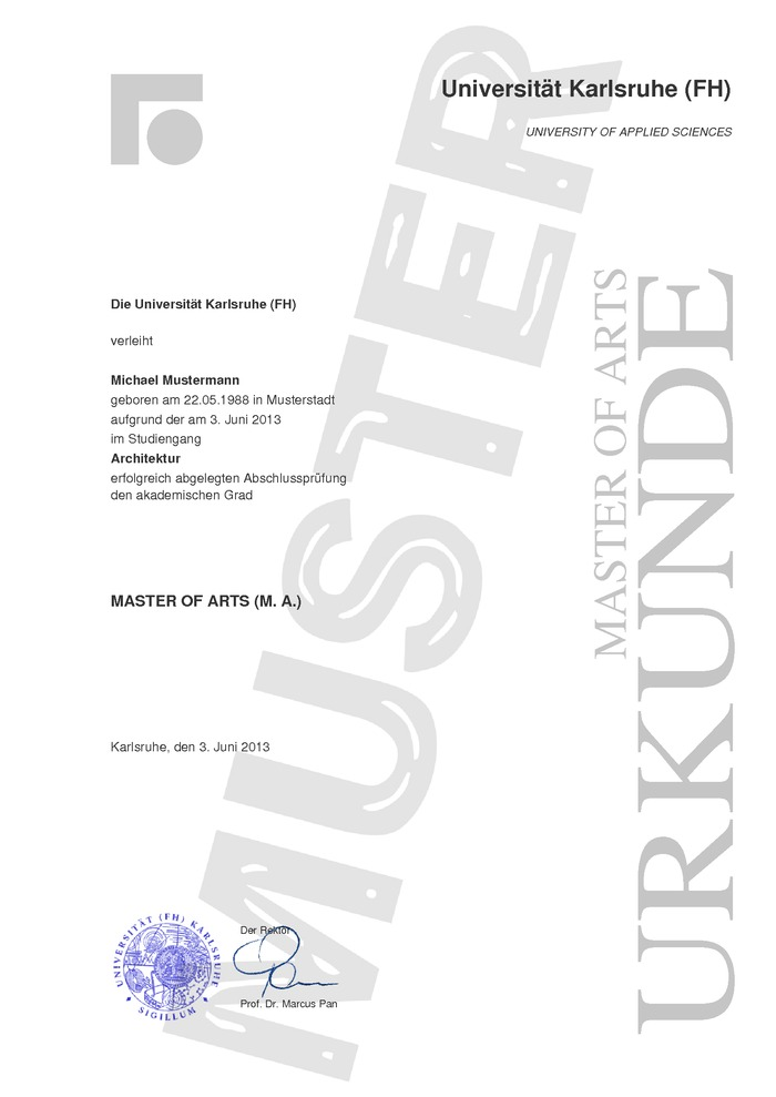 Master Urkunde Kaufen Muster (modern)