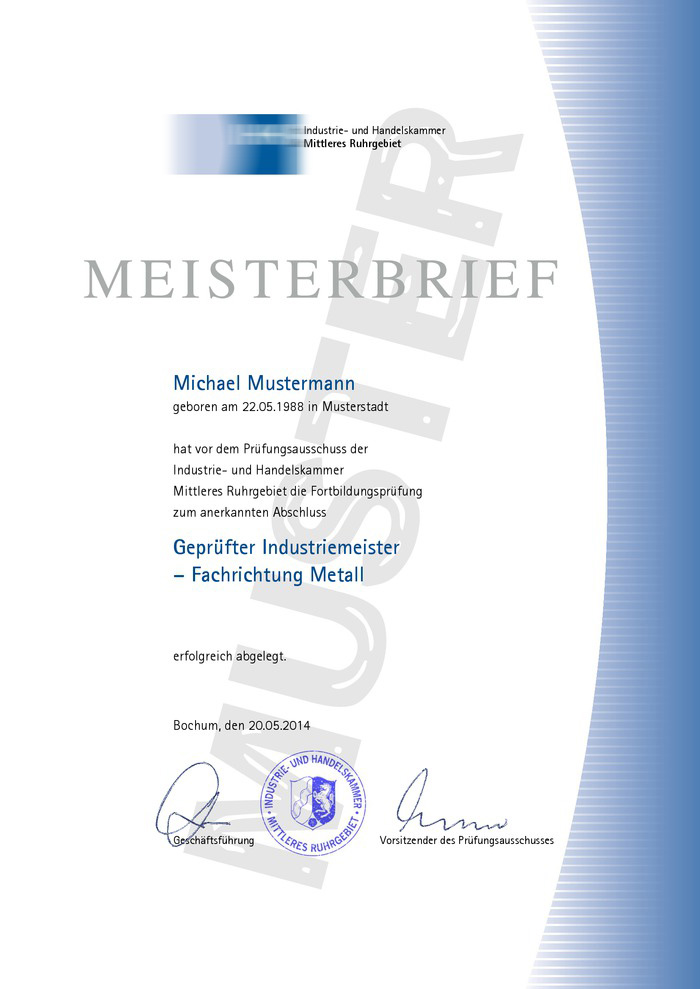 IHK Meisterbrief Muster 01 Kaufen
