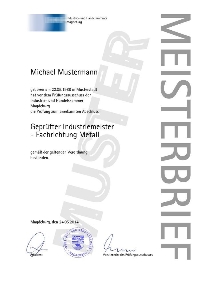 IHK Meisterbrief Muster 02 Kaufen