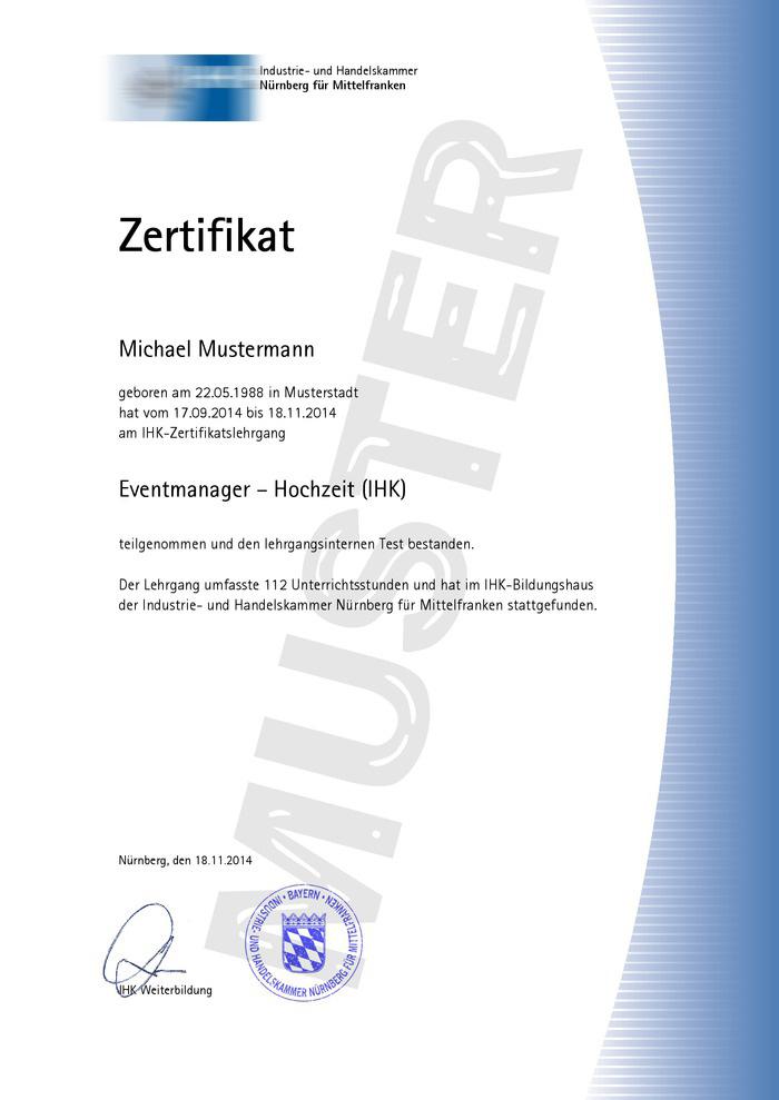 IHK Zertifikat Muster 01 Kaufen