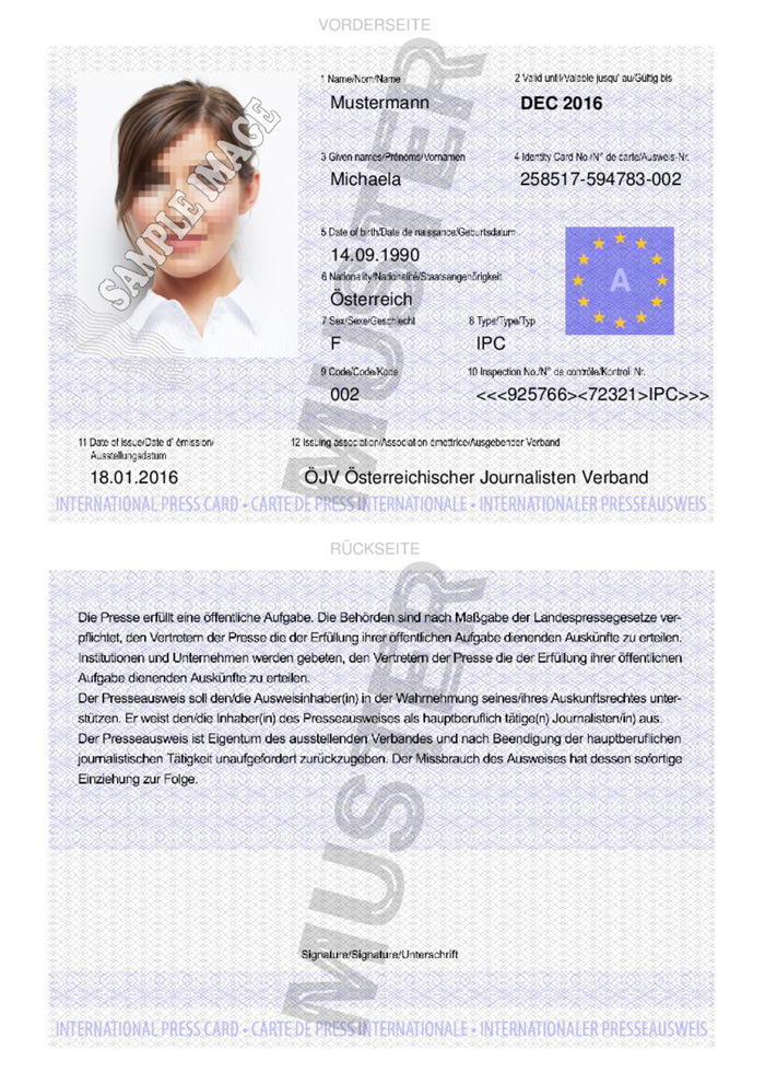 Internationaler Presseausweis Kaufen Muster 01