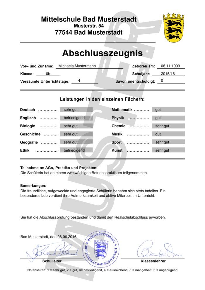 Realschulabschluss / Mittlere Reife kaufen
