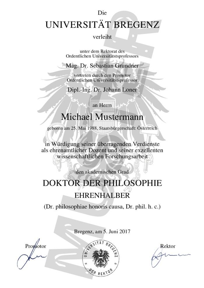 Ehren-Doktor-Titel kaufen - Muster 01 - Austria