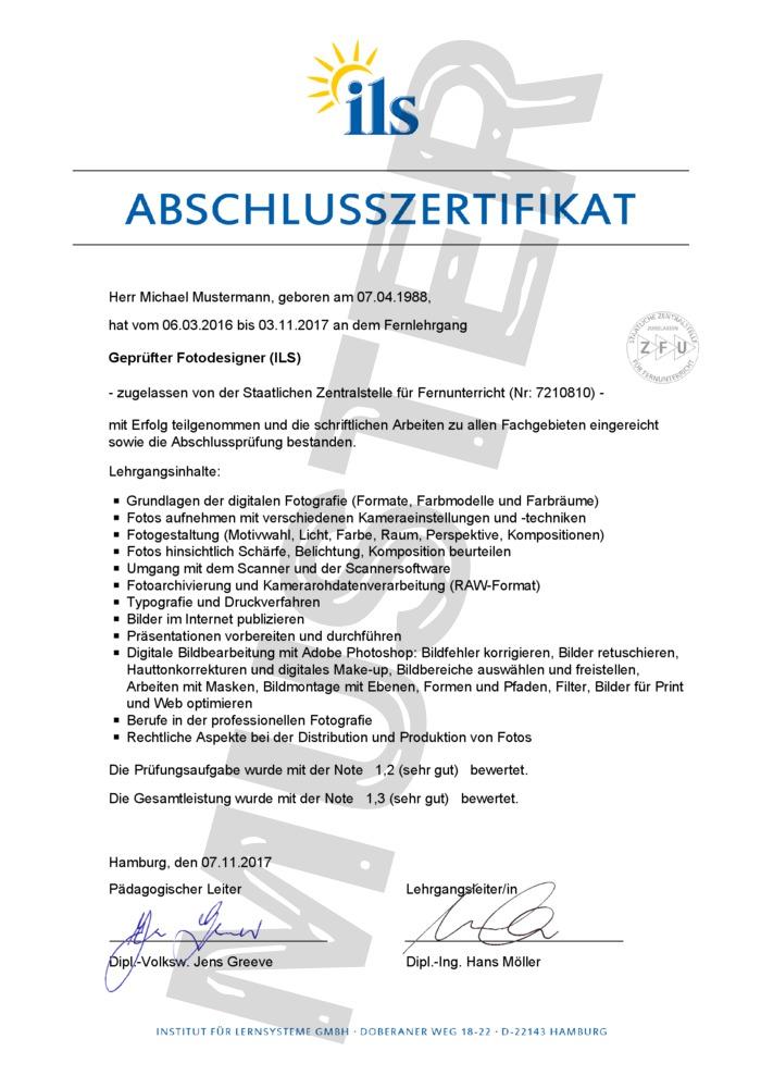 ILS Abschluss-Zertifikat Fernschule - Muster 01 - kaufen