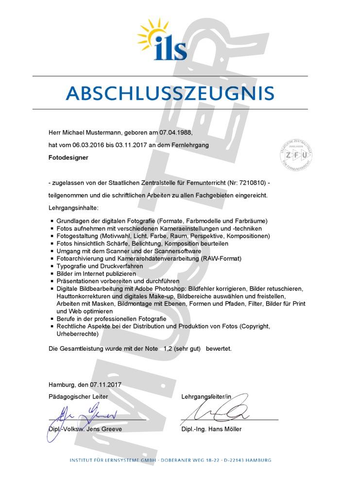 ILS Abschluss-Zeugnis Fernschule - Muster 01 - kaufen
