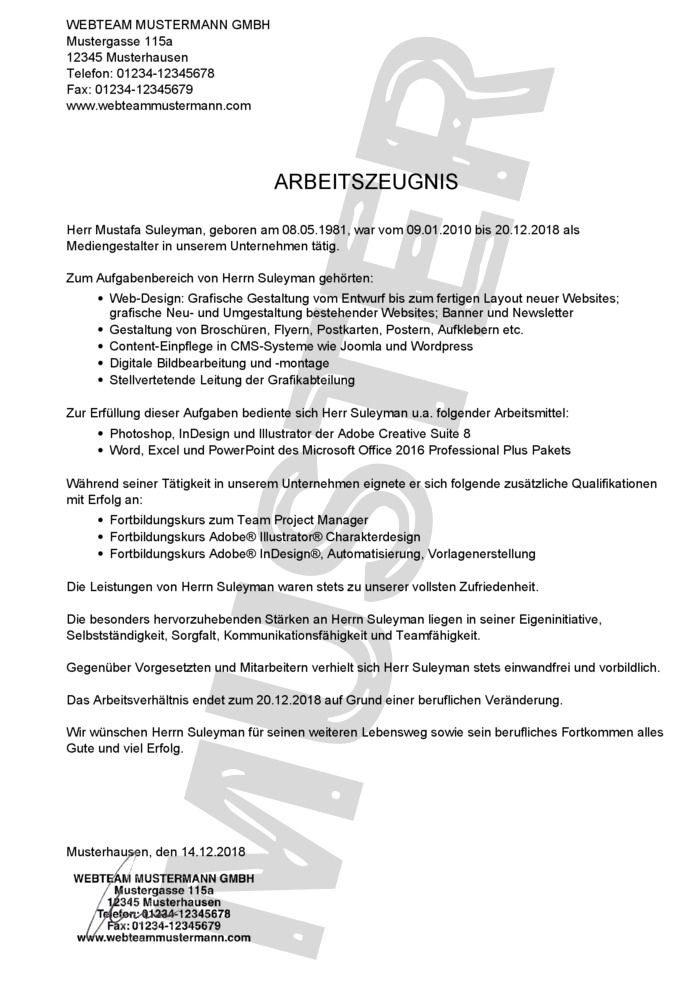 Arbeitszeugnis Kaufen - Arbeitszeugnis Muster 01
