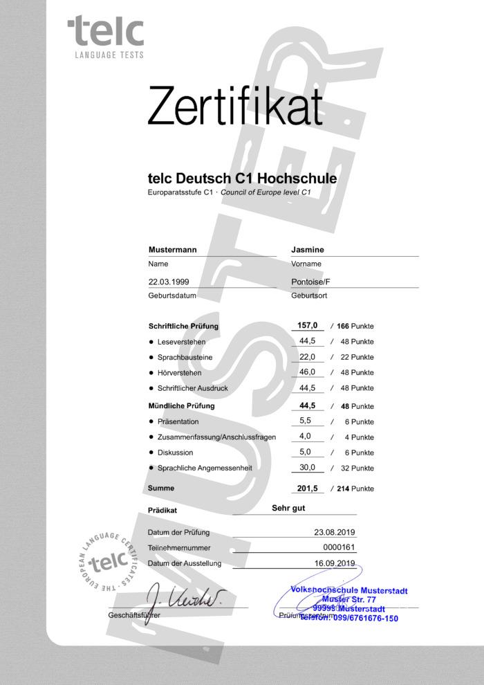 Sprachzertifikat TELC Deutsch C1 Hochschule kaufen